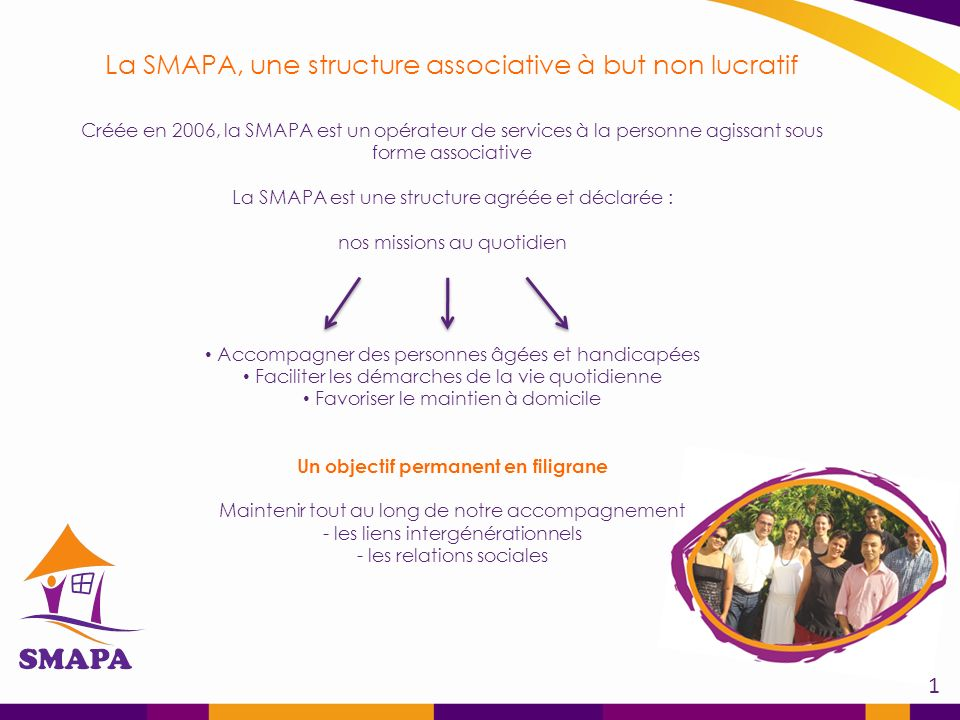 La SMAPA, une structure associative à but non lucratif