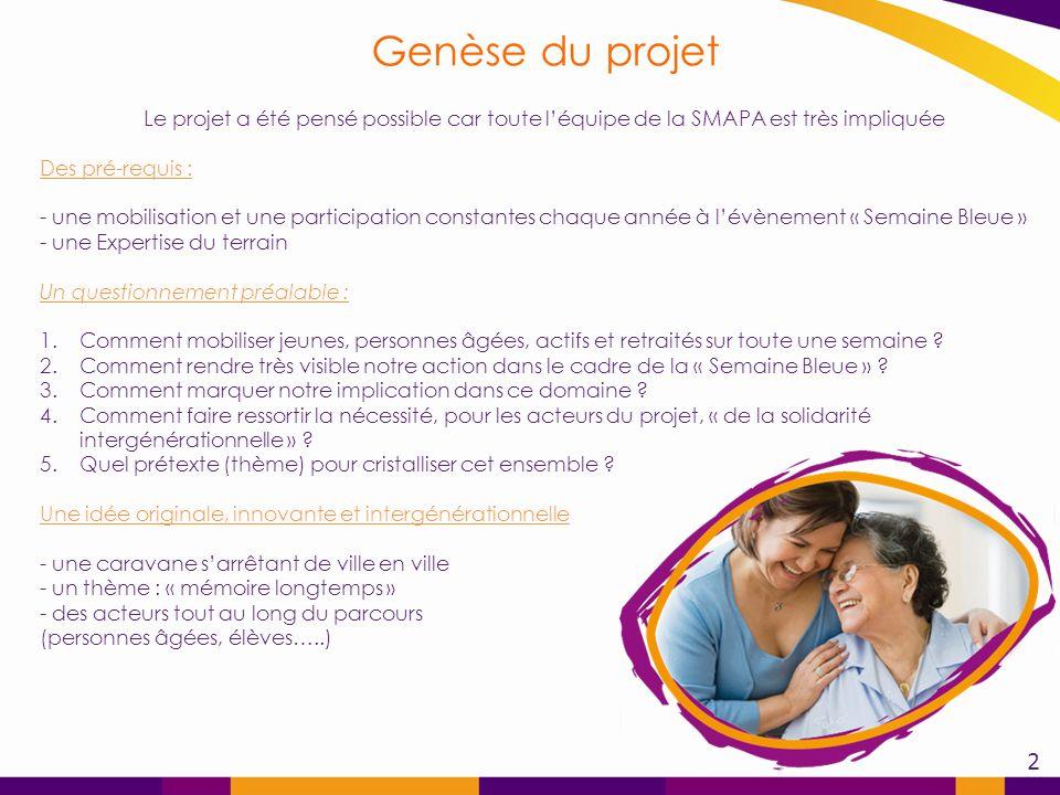 Genèse du projet Le projet a été pensé possible car toute l'équipe de la SMAPA est très impliquée.