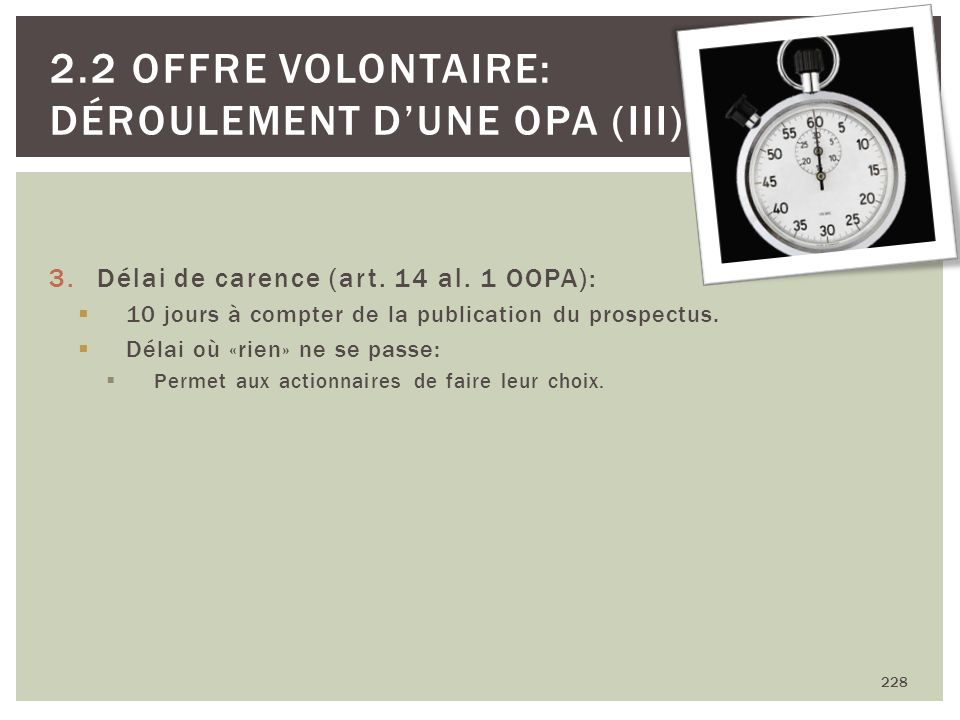 2.2 Offre volontaire: Déroulement d'une OPA (III)