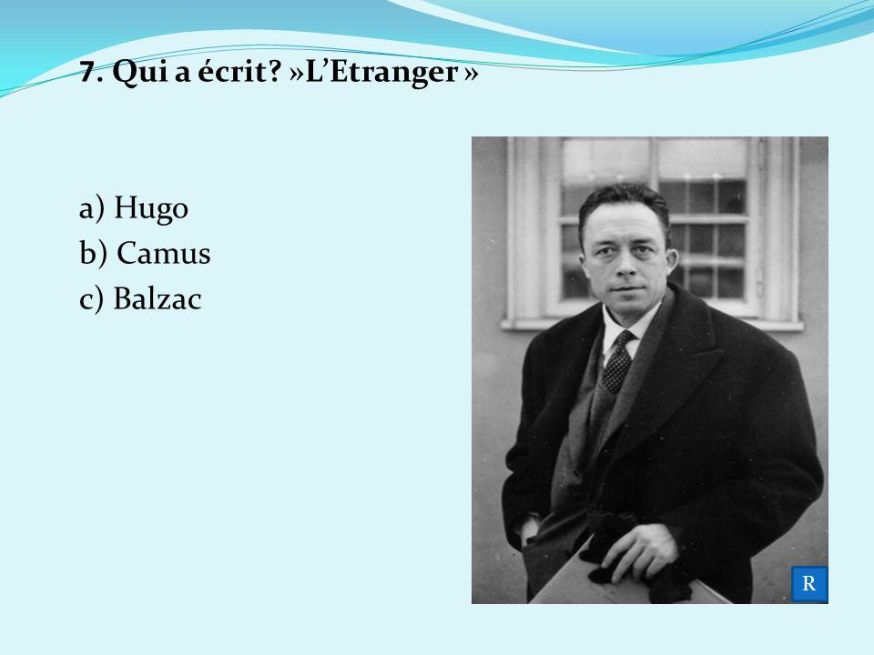 7. Qui a écrit »L'Etranger »