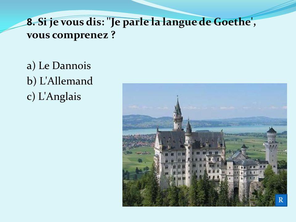 8. Si je vous dis: Je parle la langue de Goethe , vous comprenez