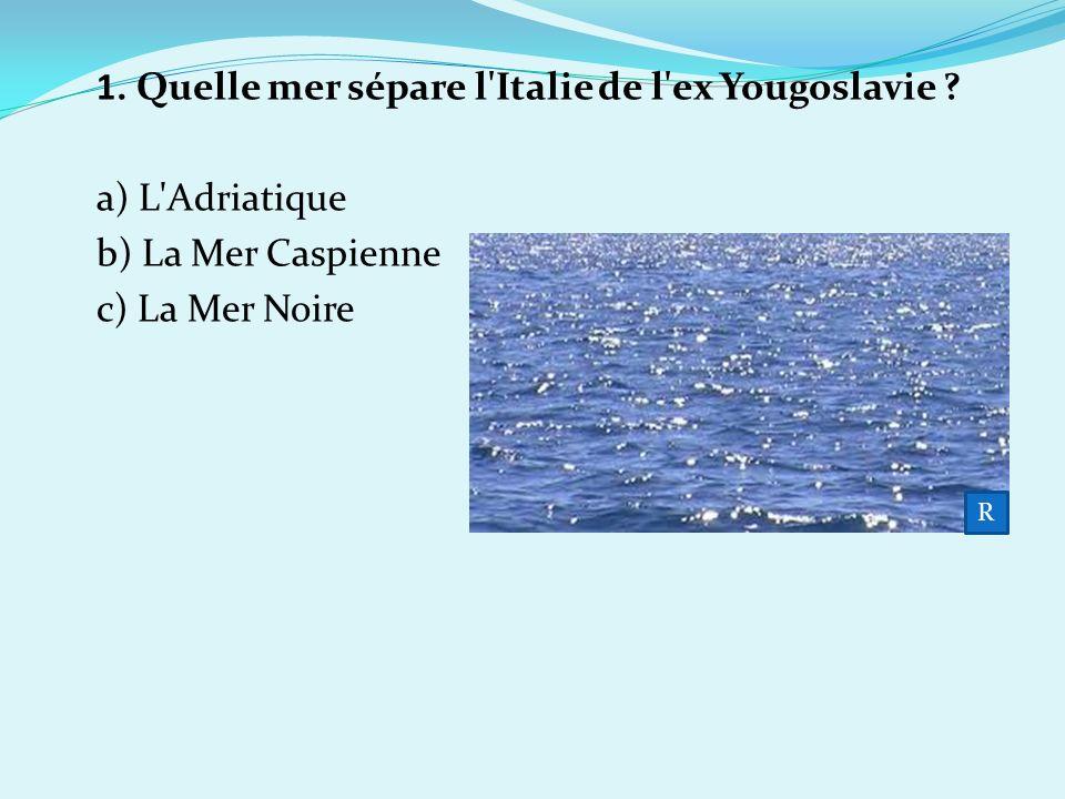 1. Quelle mer sépare l Italie de l ex Yougoslavie a) L Adriatique