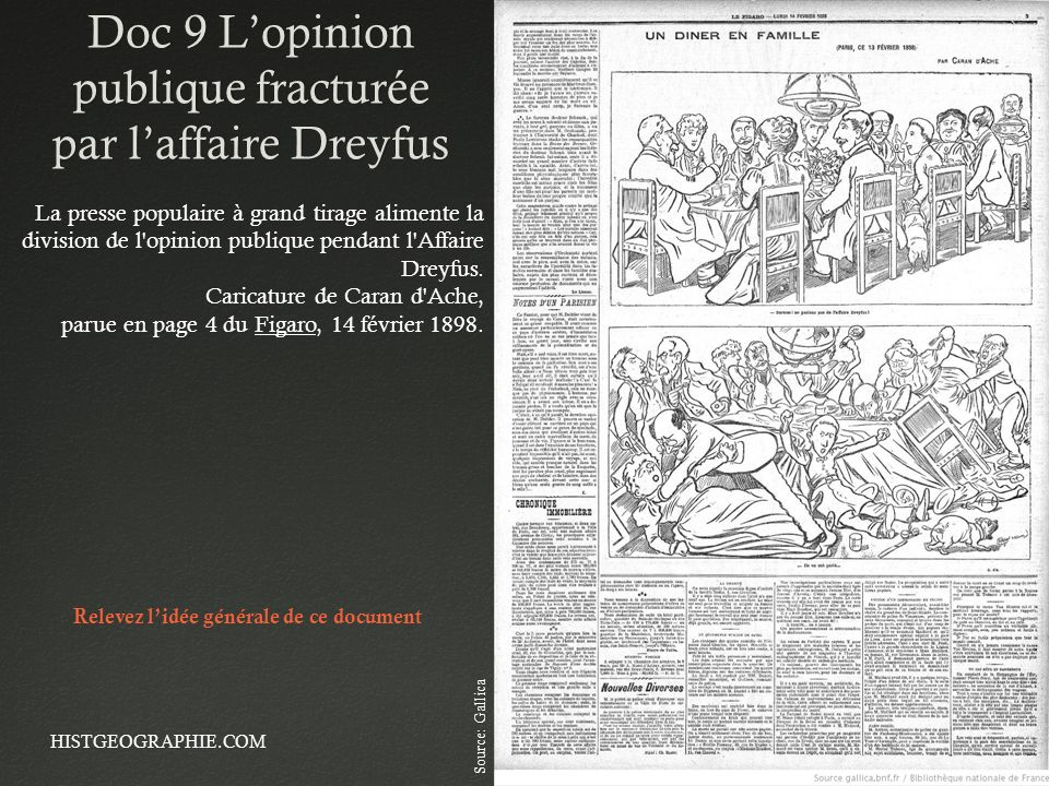 Doc 9 L'opinion publique fracturée par l'affaire Dreyfus