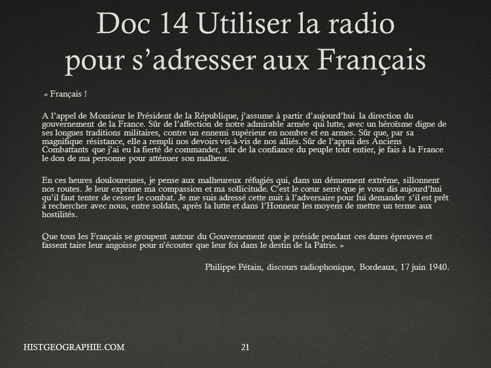 Doc 14 Utiliser la radio pour s'adresser aux Français
