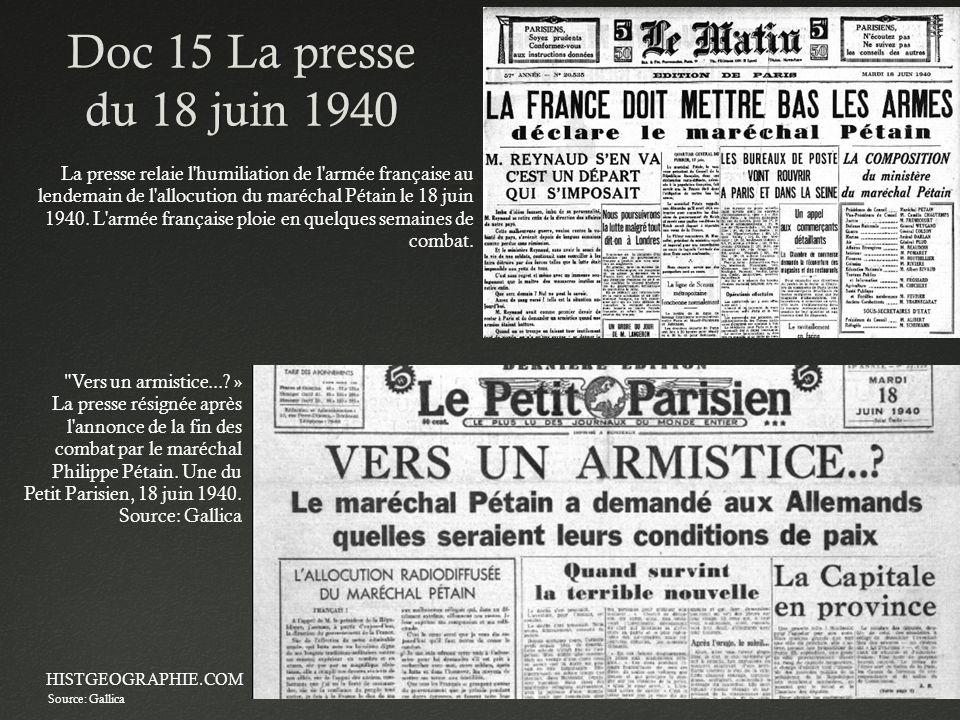 Doc 15 La presse du 18 juin 1940