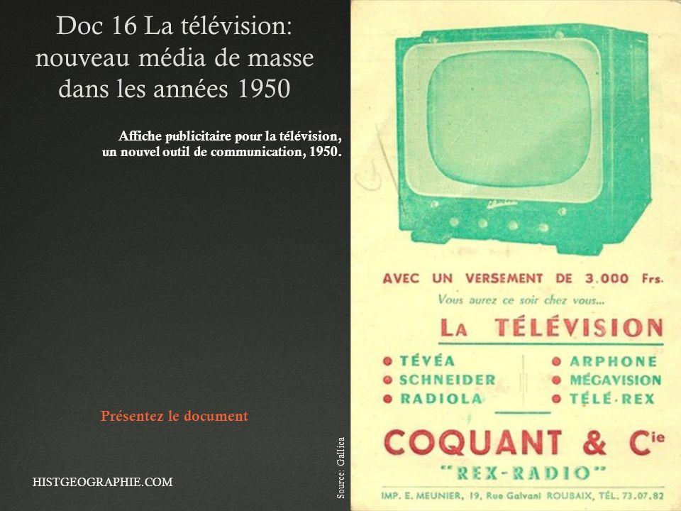 Doc 16 La télévision: nouveau média de masse dans les années 1950