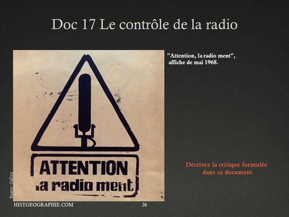 Doc 17 Le contrôle de la radio