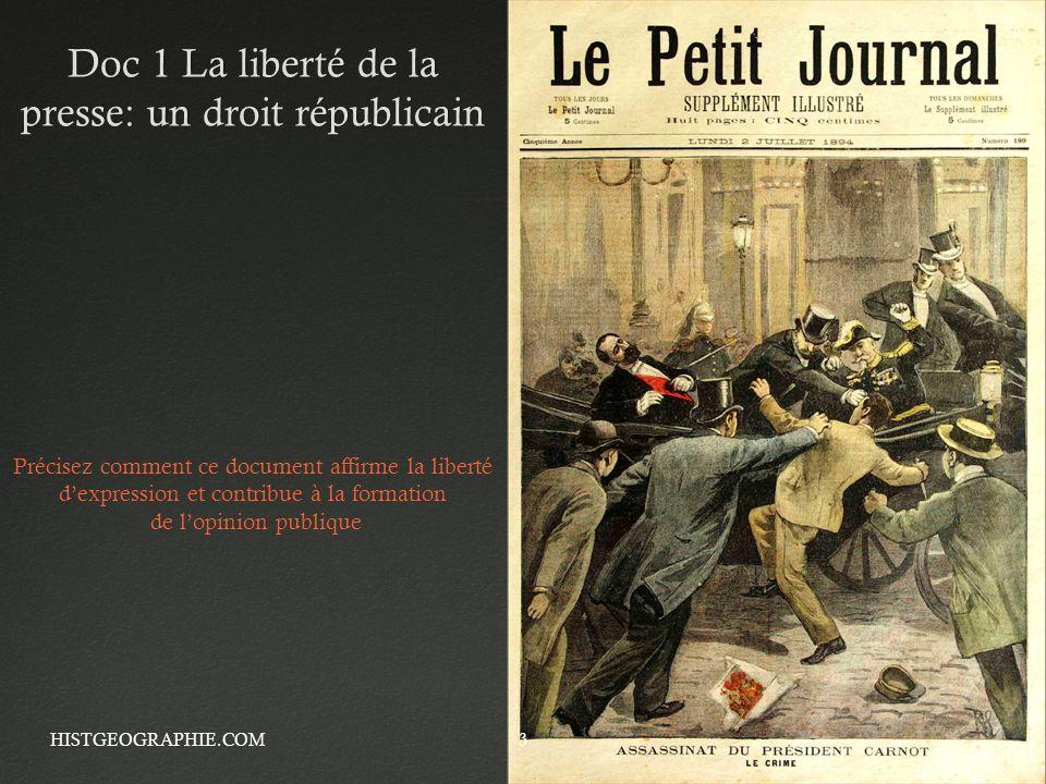 Doc 1 La liberté de la presse: un droit républicain