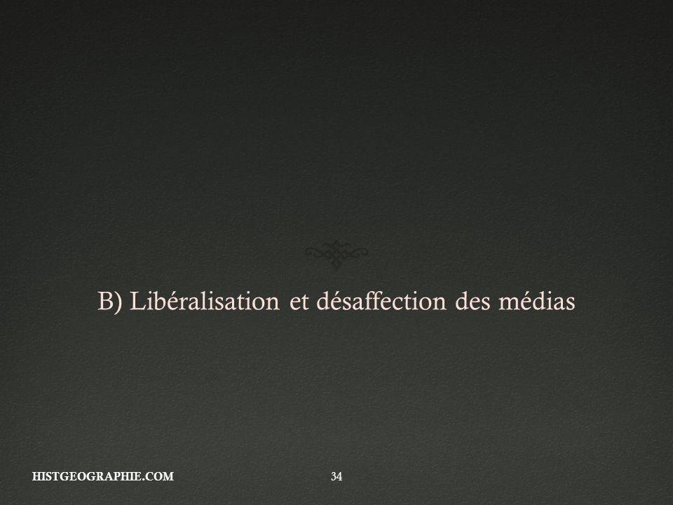 B) Libéralisation et désaffection des médias