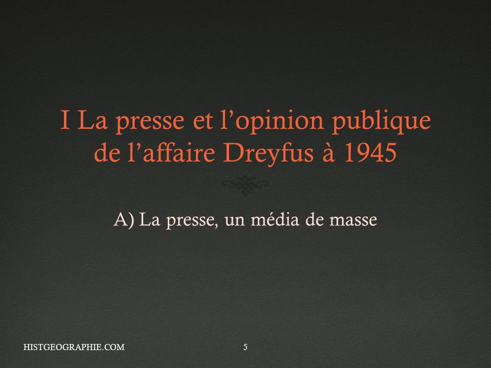 I La presse et l'opinion publique de l'affaire Dreyfus à 1945
