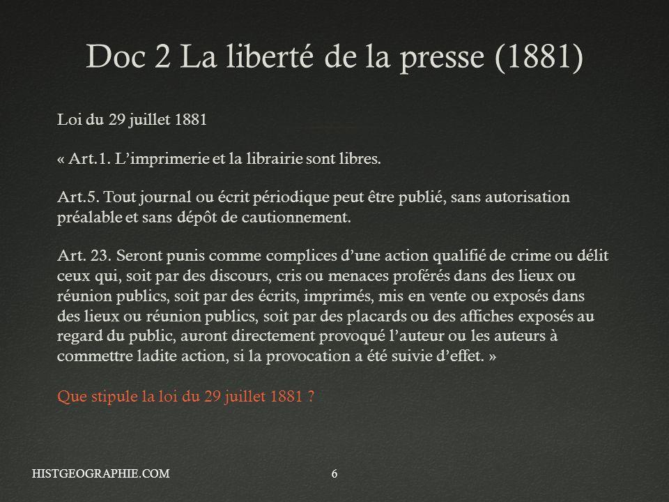 Doc 2 La liberté de la presse (1881)