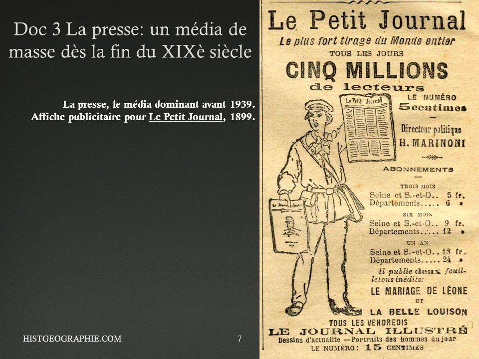 Doc 3 La presse: un média de masse dès la fin du XIXè siècle