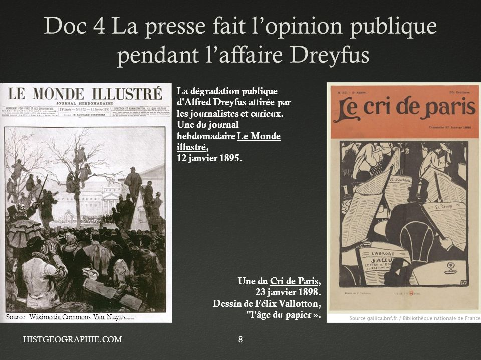 Doc 4 La presse fait l'opinion publique pendant l'affaire Dreyfus