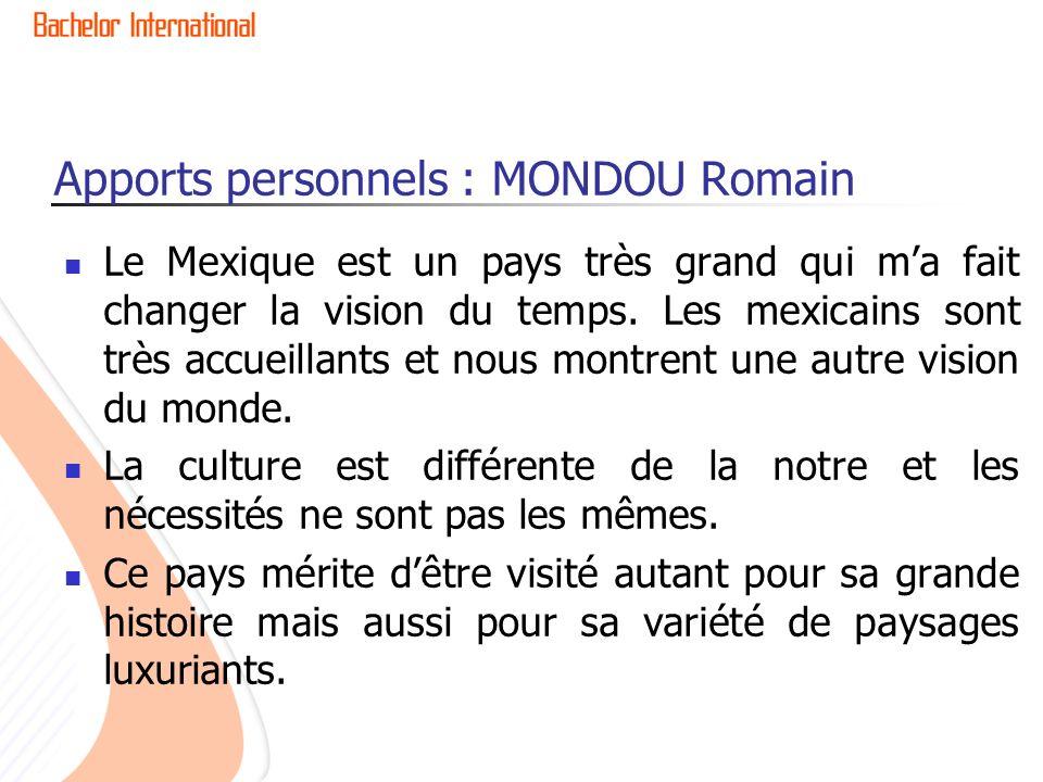 Apports personnels : MONDOU Romain