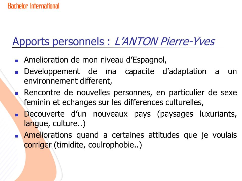 Apports personnels : L'ANTON Pierre-Yves