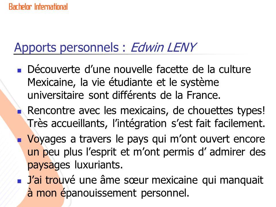 Apports personnels : Edwin LENY