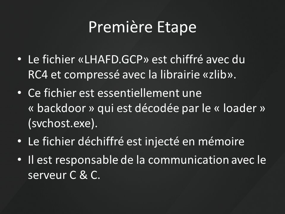 Première Etape Le fichier «LHAFD.GCP» est chiffré avec du RC4 et compressé avec la librairie «zlib».
