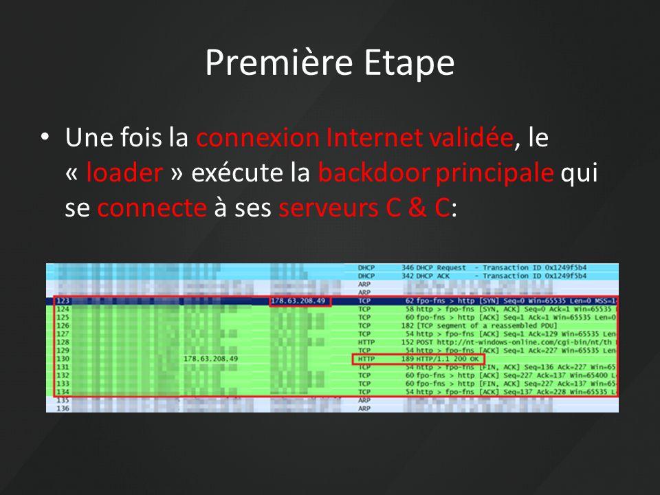 Première Etape Une fois la connexion Internet validée, le « loader » exécute la backdoor principale qui se connecte à ses serveurs C & C: