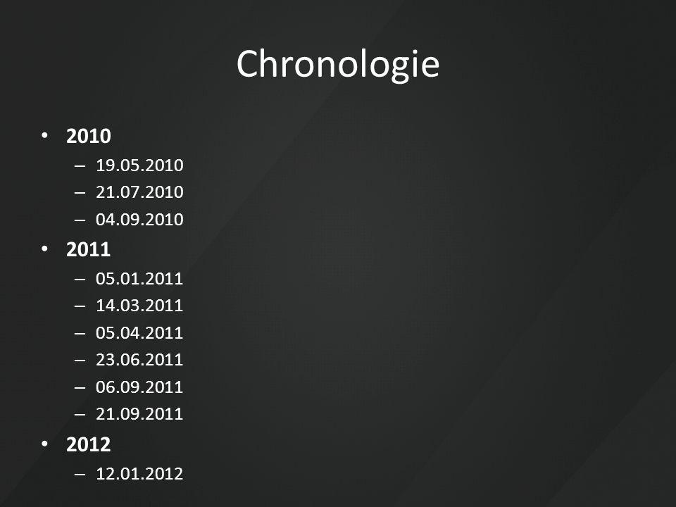 Chronologie 2010. 19.05.2010. 21.07.2010. 04.09.2010. 2011. 05.01.2011. 14.03.2011. 05.04.2011.