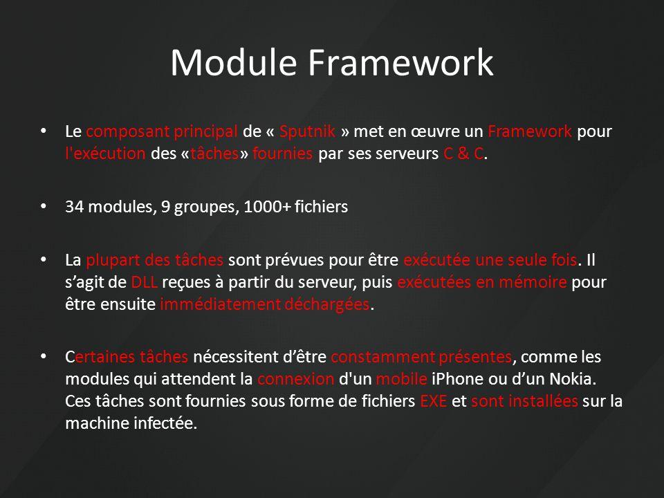Module Framework Le composant principal de « Sputnik » met en œuvre un Framework pour l exécution des «tâches» fournies par ses serveurs C & C.