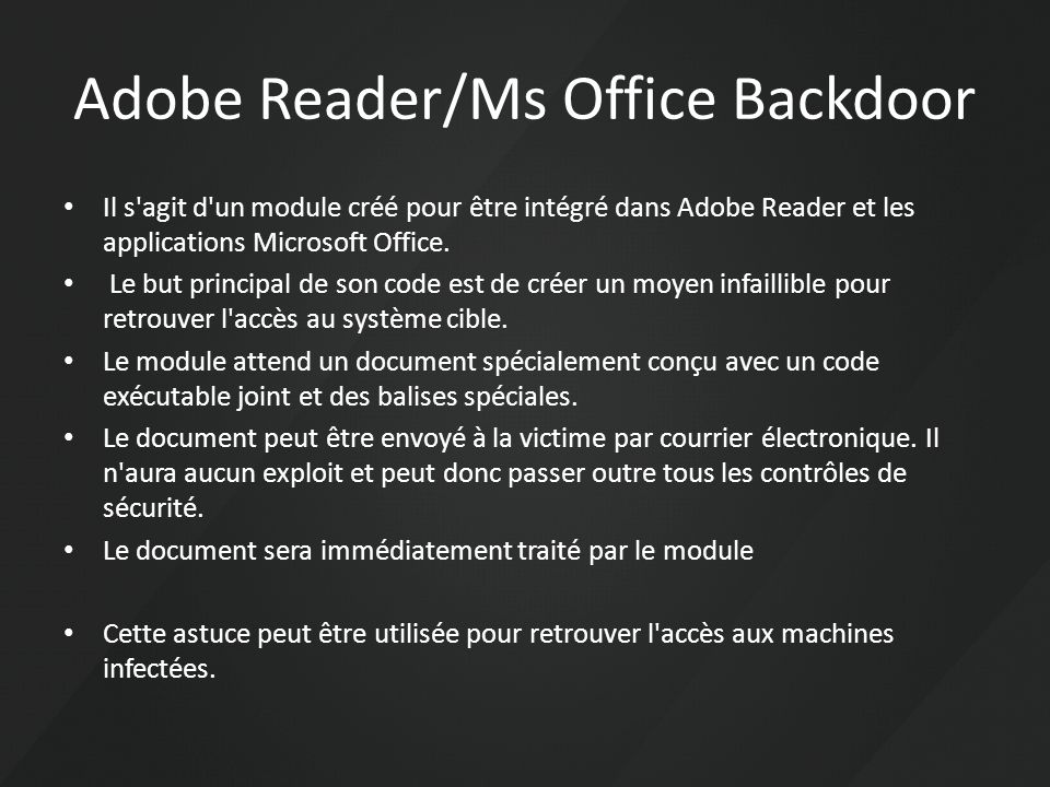 Adobe Reader/Ms Office Backdoor