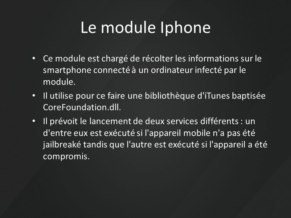 Le module Iphone Ce module est chargé de récolter les informations sur le smartphone connecté à un ordinateur infecté par le module.