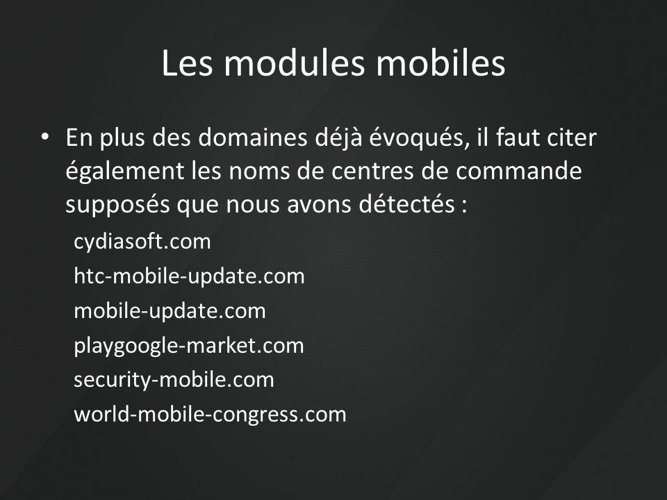 Les modules mobiles En plus des domaines déjà évoqués, il faut citer également les noms de centres de commande supposés que nous avons détectés :