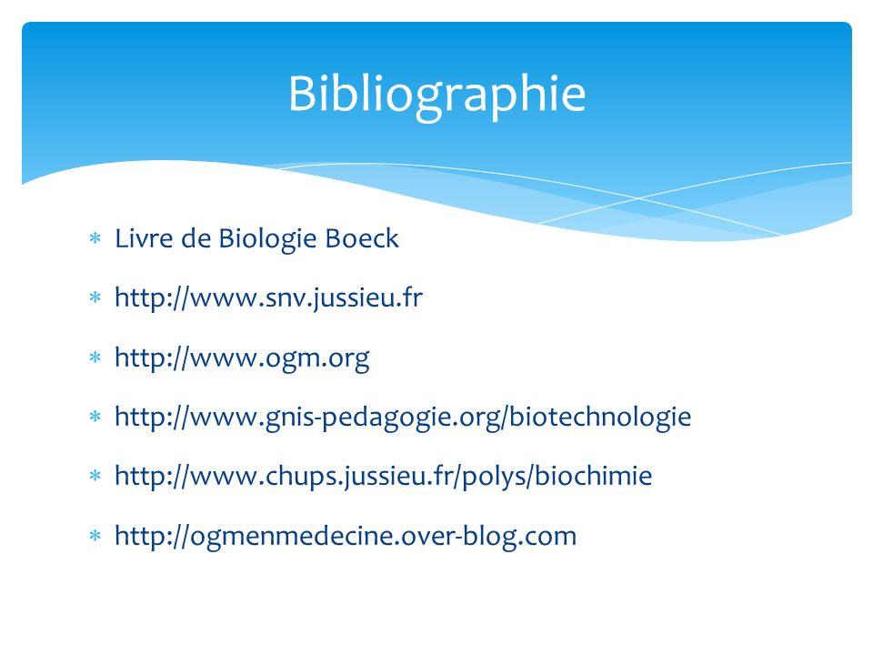 Bibliographie Livre de Biologie Boeck http://www.snv.jussieu.fr