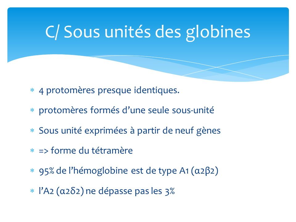 C/ Sous unités des globines