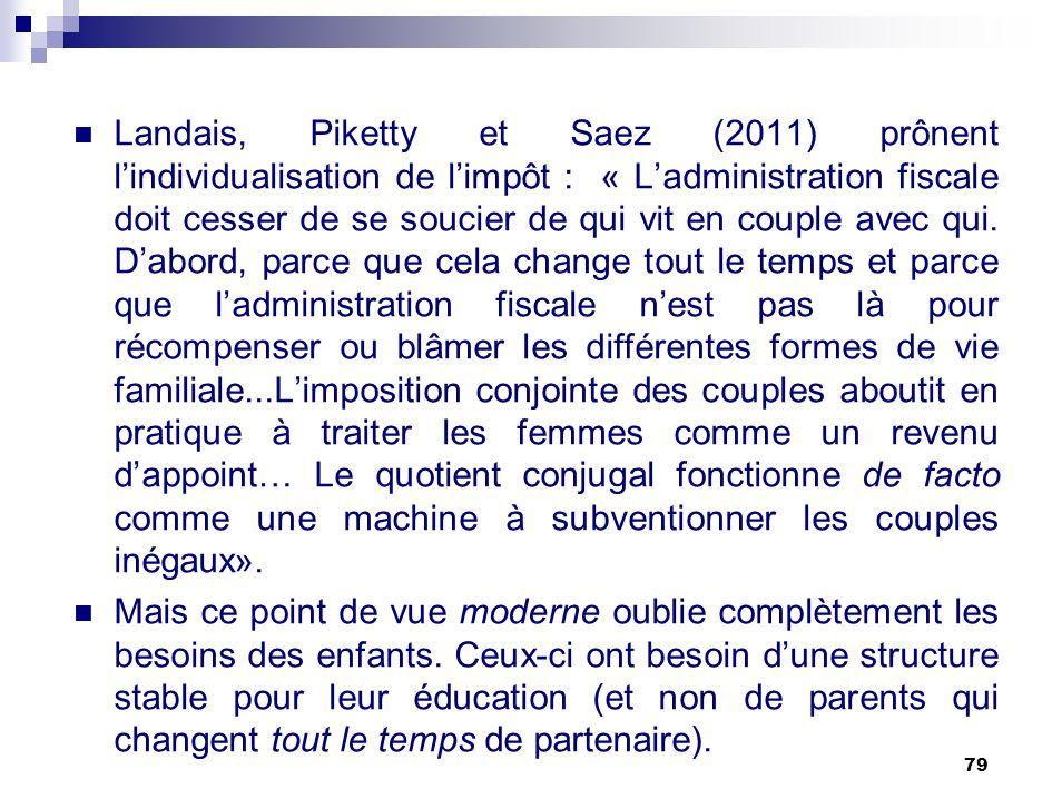 Landais, Piketty et Saez (2011) prônent l'individualisation de l'impôt : « L'administration fiscale doit cesser de se soucier de qui vit en couple avec qui. D'abord, parce que cela change tout le temps et parce que l'administration fiscale n'est pas là pour récompenser ou blâmer les différentes formes de vie familiale...L'imposition conjointe des couples aboutit en pratique à traiter les femmes comme un revenu d'appoint… Le quotient conjugal fonctionne de facto comme une machine à subventionner les couples inégaux».
