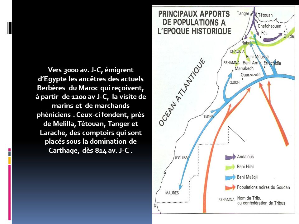 Vers 3000 av. J-C, émigrent d'Egypte les ancêtres des actuels Berbères du Maroc qui reçoivent, à partir de 1200 av J-C, la visite de marins et de marchands phéniciens . Ceux-ci fondent, près de Melilla, Tétouan, Tanger et Larache, des comptoirs qui sont placés sous la domination de Carthage, dès 814 av. J-C .
