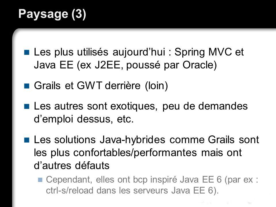 Paysage (3) Les plus utilisés aujourd'hui : Spring MVC et Java EE (ex J2EE, poussé par Oracle) Grails et GWT derrière (loin)