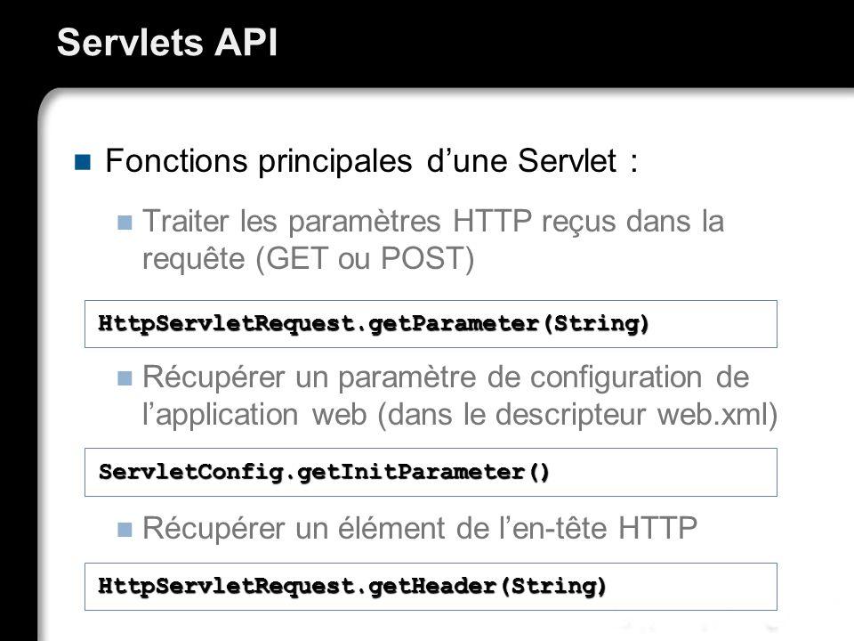 Servlets API Fonctions principales d'une Servlet :