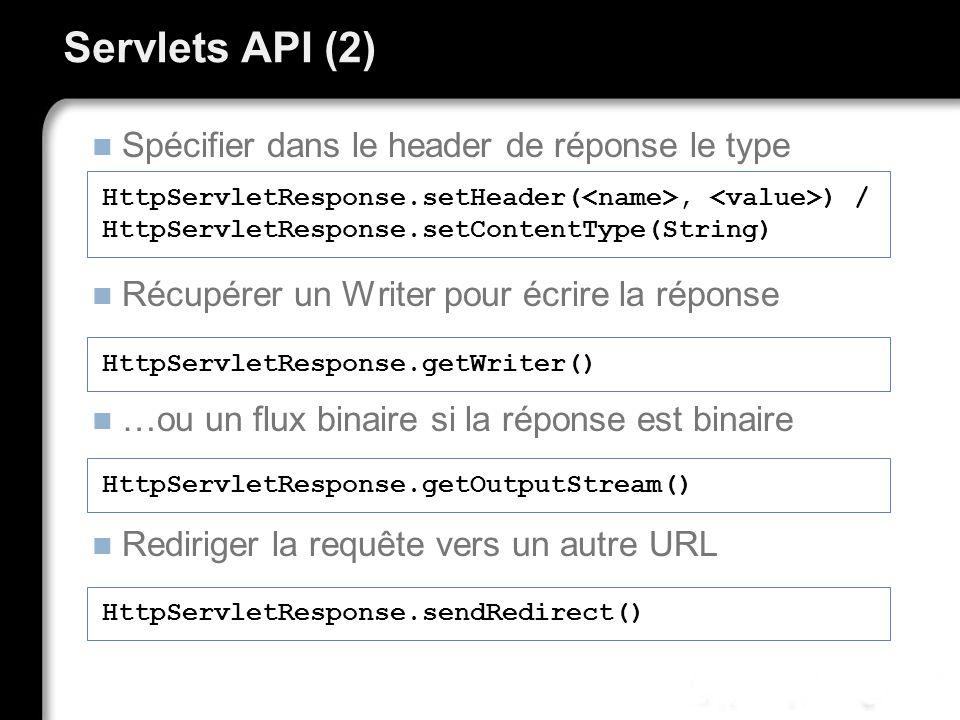 Servlets API (2) Spécifier dans le header de réponse le type