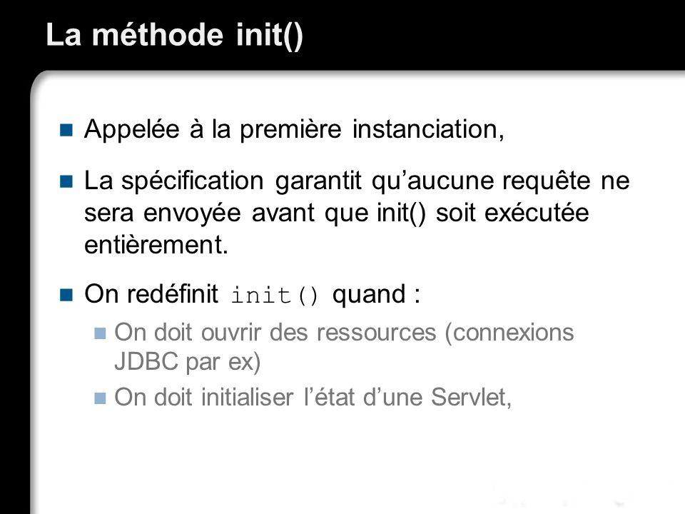 La méthode init() Appelée à la première instanciation,
