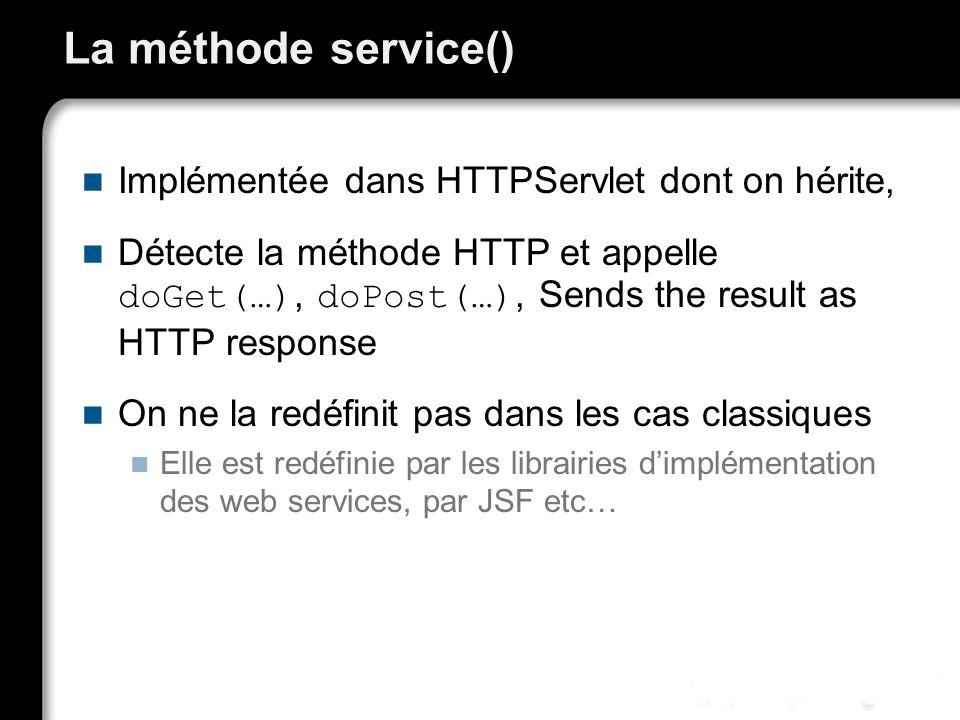 La méthode service() Implémentée dans HTTPServlet dont on hérite,