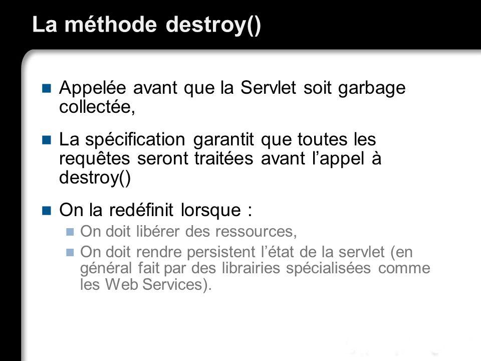 * 07/16/96. La méthode destroy() Appelée avant que la Servlet soit garbage collectée,