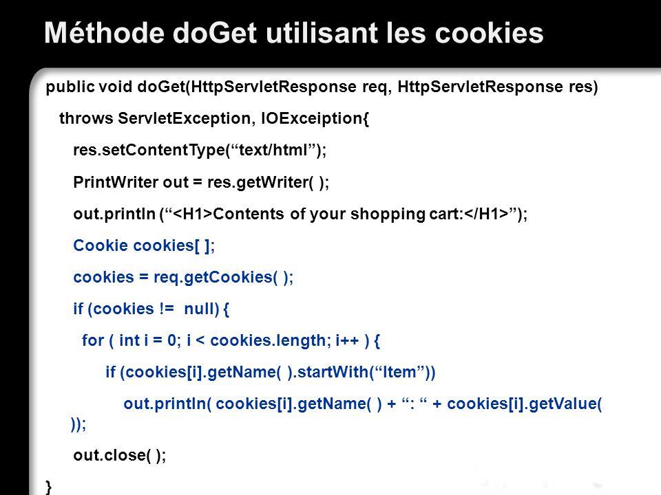 Méthode doGet utilisant les cookies