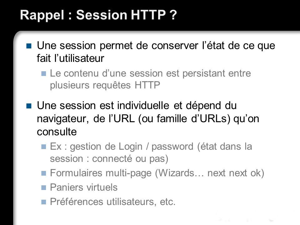 Rappel : Session HTTP Une session permet de conserver l'état de ce que fait l'utilisateur.