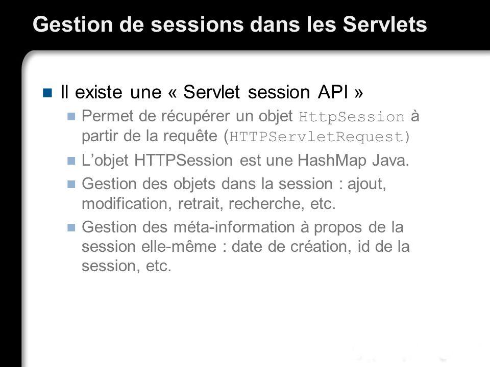 Gestion de sessions dans les Servlets