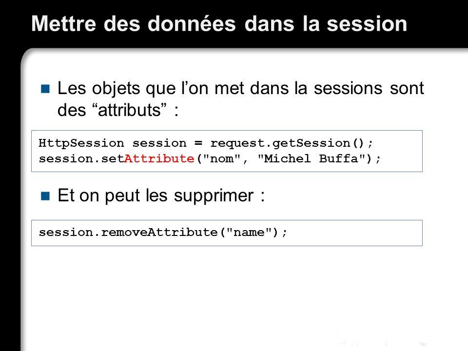 Mettre des données dans la session