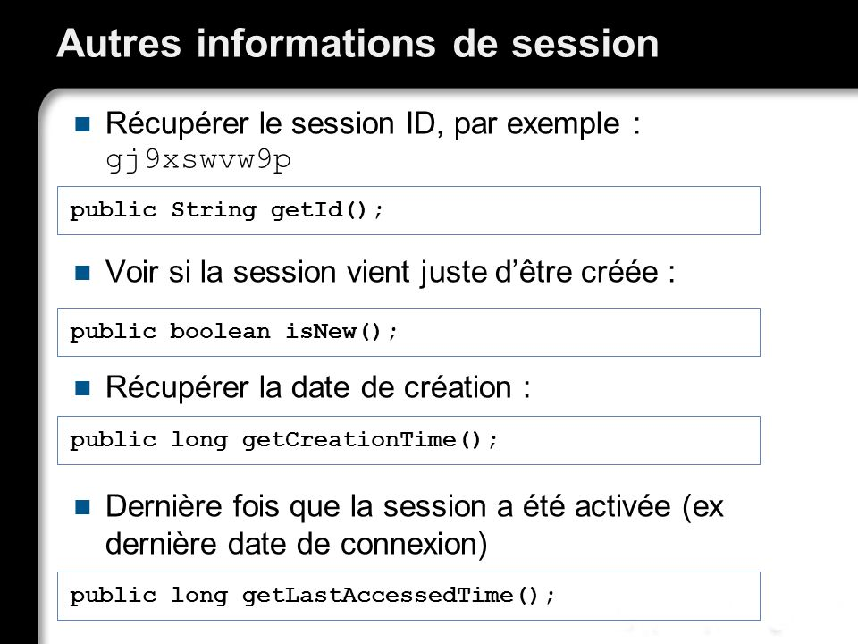 Autres informations de session