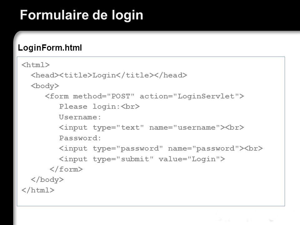 Formulaire de login LoginForm.html <html>