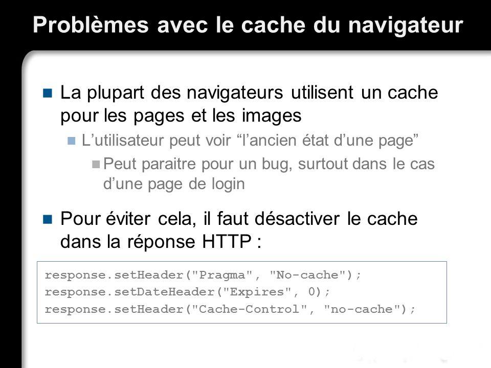 Problèmes avec le cache du navigateur