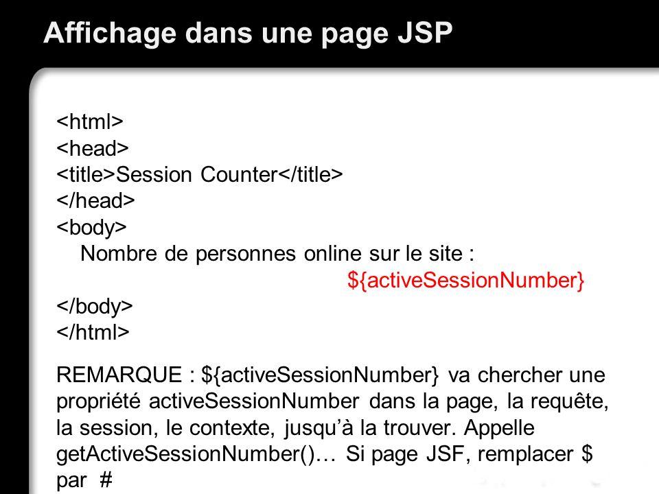 Affichage dans une page JSP