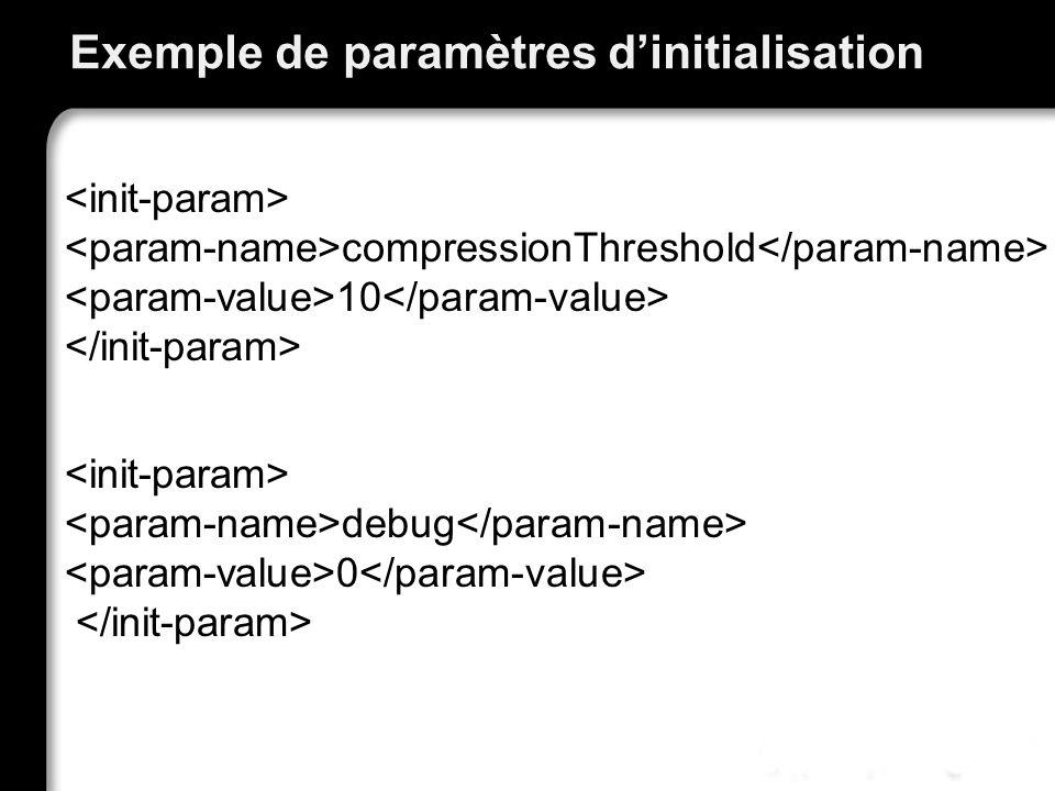 Exemple de paramètres d'initialisation