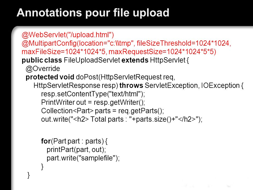 Annotations pour file upload