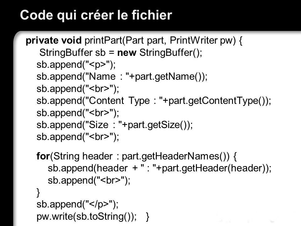 Code qui créer le fichier