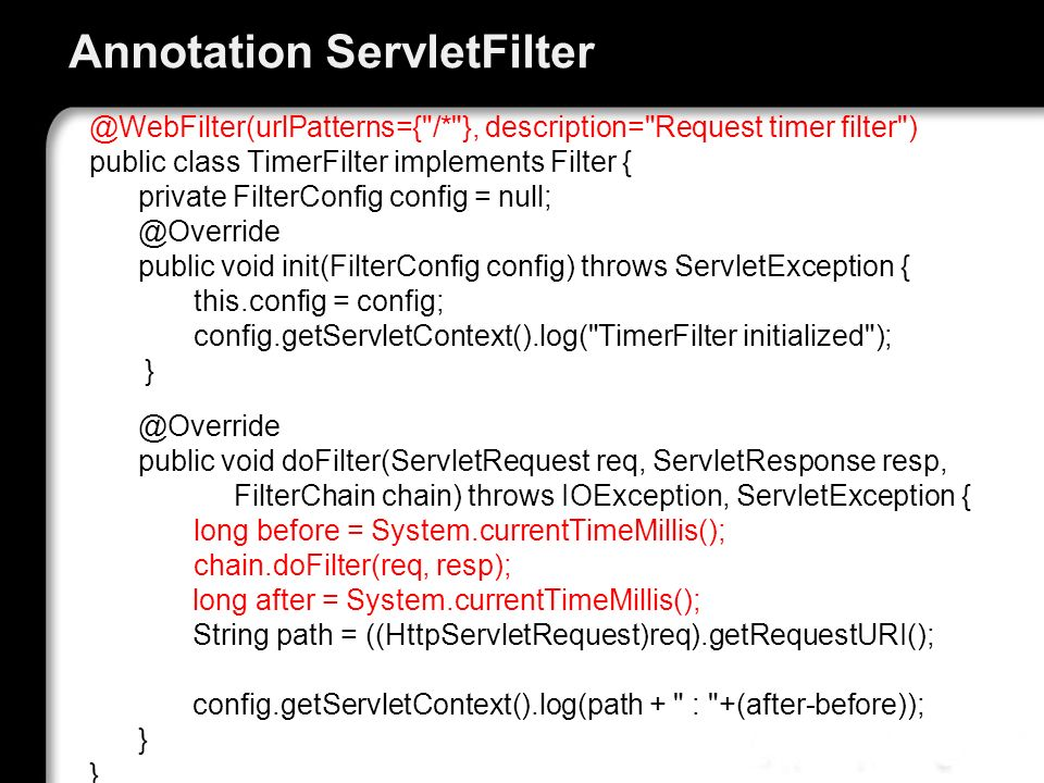 Annotation ServletFilter
