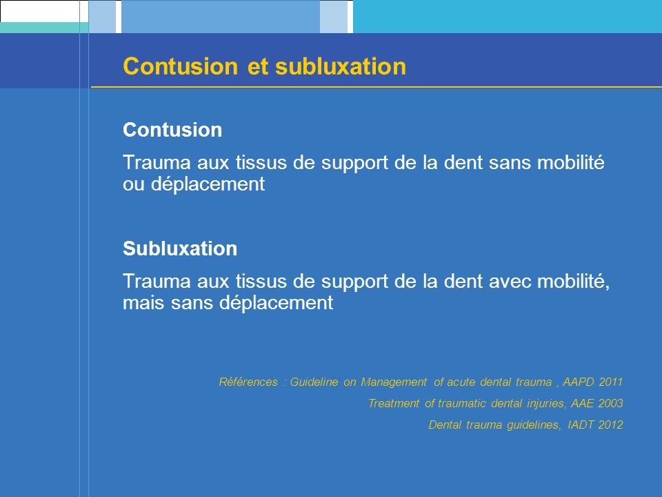 Contusion et subluxation